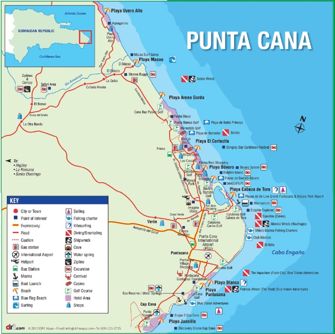 Where is Punta Cana – East Coast Tourist Attractions Map